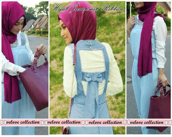 Setelan Jumpsuit Jeans Hijab Panjang Model Terbaru & Murah