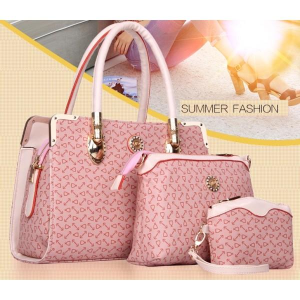 Tas Wanita Pink Cantik Paket 3 in 1 Model Terbaru & Murah