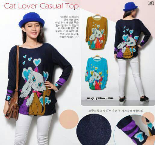 """Baju Atasan Wanita """"Blouse Cat Lover"""" Cantik Terbaru & Murah"""
