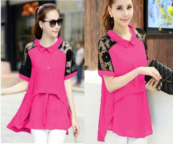 Baju Blouse Pink Atasan Wanita Cantik Terbaru & Murah