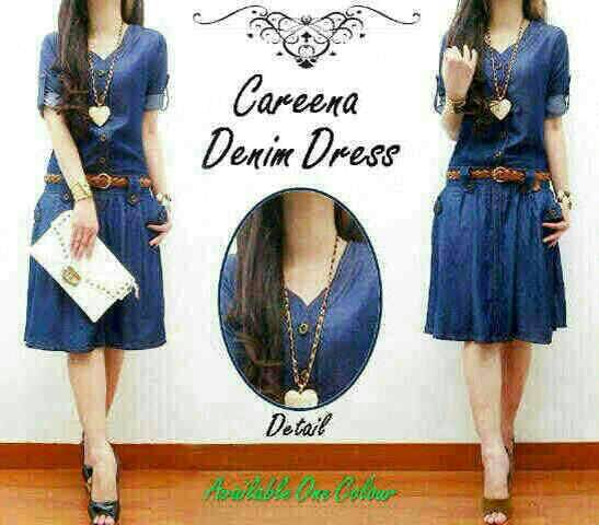 Baju Dress Denim Pendek Cantik Model Terbaru & Murah
