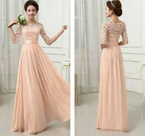Baju Gaun Long Dress Brukat Cantik Model Terbaru & Murah