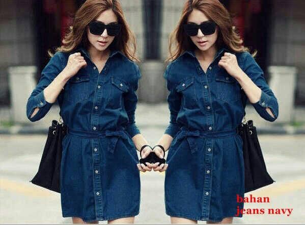 Baju Kemeja Jeans Panjang Wanita Model Terbaru & Murah