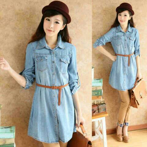 Baju Mini Dress Denim Cantik Model Terbaru & Murah