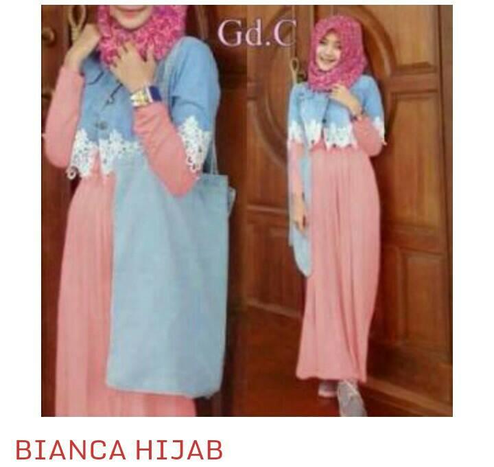 Busana Gamis Muslim Wanita Modern Set Bianca Hijab Terbaru & Murah