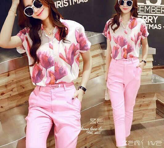 Setelan Baju & Celana Pink Wanita Model Terbaru & Murah
