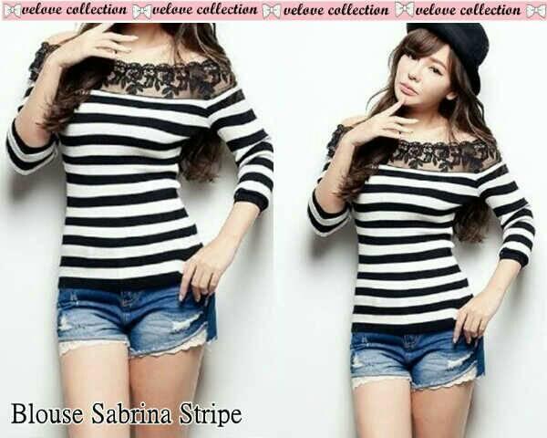 Baju Blouse Stripe Wanita Cantik Model Terbaru & Murah