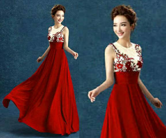 Baju Gaun Long Dress Merah Cantik Model Terbaru & Murah