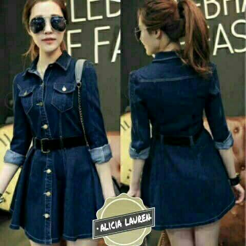 Baju Mini Dress Jeans Pendek Model Terbaru & Murah