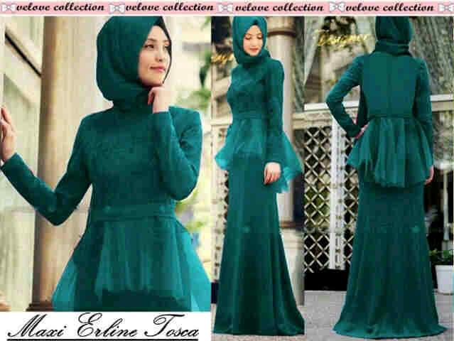 Busana Maxi Dress Set Hijab Muslim Modern Terbaru & Murah