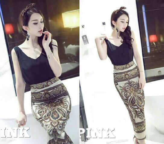 Setelan Baju & Rok Skirt Motif Model Terbaru Cantik & Murah