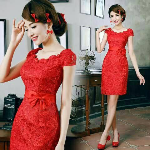 Baju Dress Pendek Brukat Merah Model Terbaru Cantik