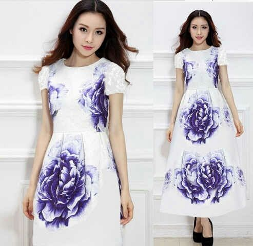 "Baju Gaun Dress Putih Panjang ""Long Dress Maxi Violet"" Murah"