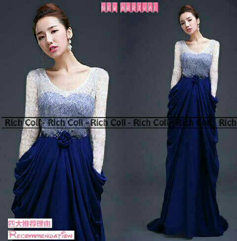 "Baju Gaun Long Dress ""Maureen Glamour Sutra"" Cantik & Murah"