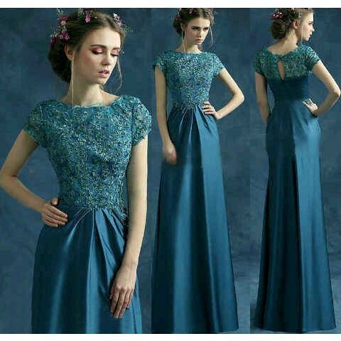 Baju Gaun Long Dress Pesta Warna Tosca Cantik & Murah