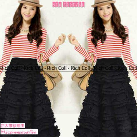 Baju Long Dress Rufelle Salur Belang Cantik & Murah
