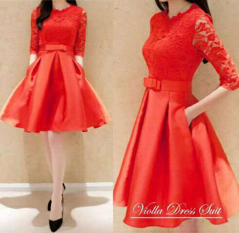 Mini Dress Brukat Merah Model Terbaru Cantik & Modis