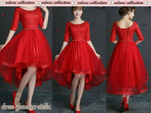 Pakaian Gaun Dress Pesta Brukat Merah Glamor Cantik & Murah