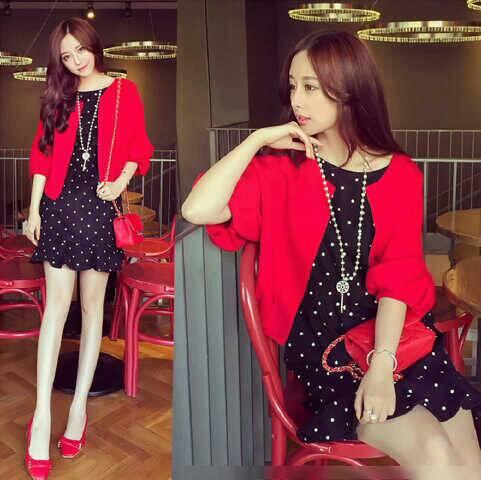 Setelan Baju Mini Dress Polkadot & Cardigan Terbaru Cantik & Murah