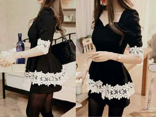 Baju Dress Pendek (Mini Dress) Hitam Cantik & Murah