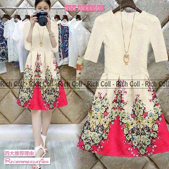 Baju Dress Pendek Putih Motif Bunga Cantik & Murah