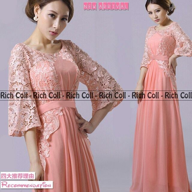 Baju Gaun Long Dress Brukat Cantik Terbaru Murah Ryn Fashion