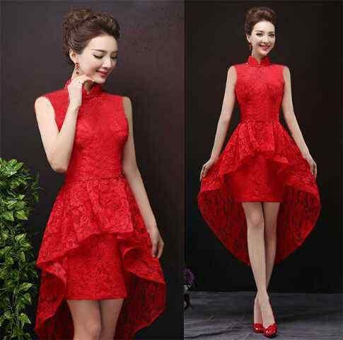 Baju Gaun Long Dress Shanghai Brukat Merah Cantik & Murah