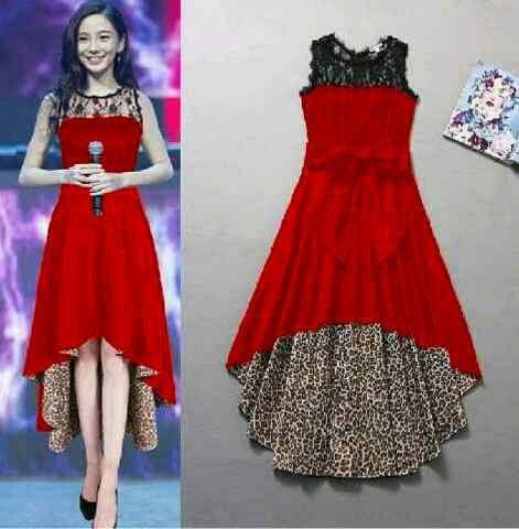 Baju Long Dress Merah Desain Korea Cantik Terbaru & Murah