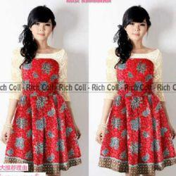 Baju Mini Dress Pendek Batik Merah Model Terbaru & Murah
