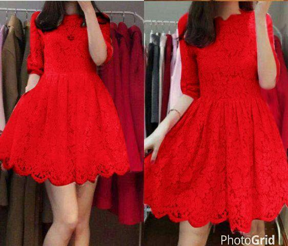 Baju Mini Dress Pendek Brukat Merah Cantik & Murah