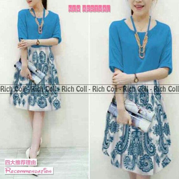 Baju Mini Dress Pendek Motif Biru Model Terbaru & Murah