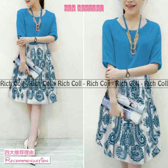 Baju Mini Dress Pendek Motif Biru Model Terbaru & Murah