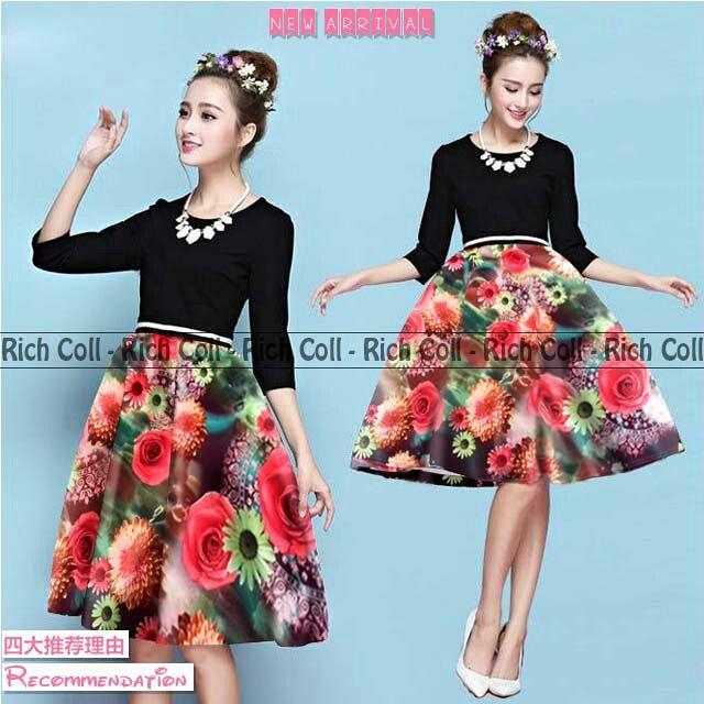 Baju Mini Dress Pendek Motif Bunga Cantik Terbaru & Murah