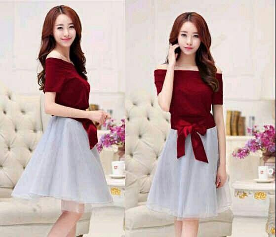 Baju Mini Dress Pendek Pita Polos Cantik Terbaru & Murah
