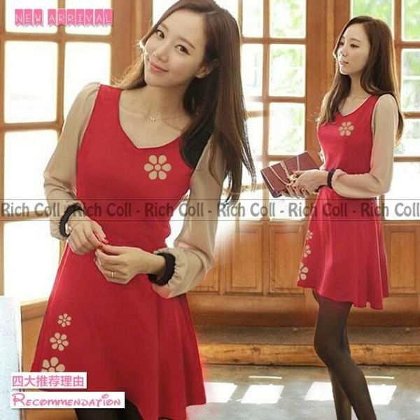 Baju Mini Dress Simple Merah Model Terbaru & Cantik