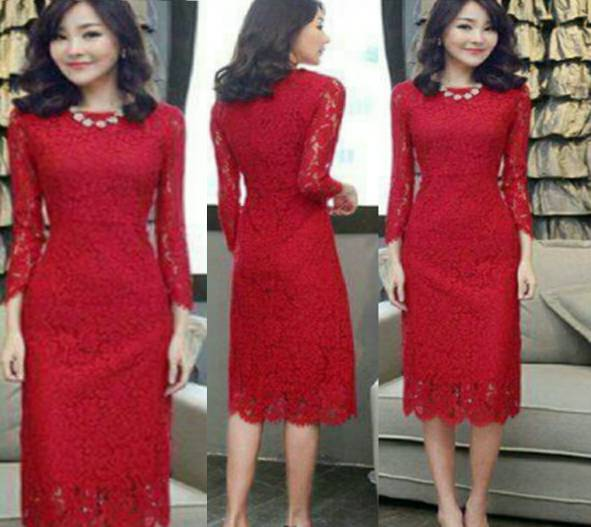 Dress Brukat Merah Model Terbaru Modern & Murah