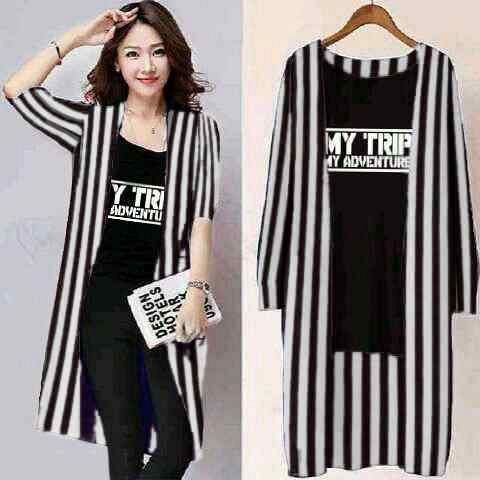 Set Long Cardi Belang & Kaos My Trip My Adventure (MTMA) Murah
