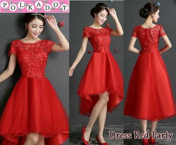Baju Dress Brukat Merah Model Terbaru Cantik & Murah