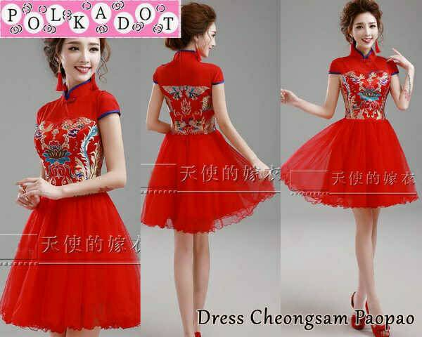 Baju Dress Cheongsam Tile Merah Pendek Modis & Cantik