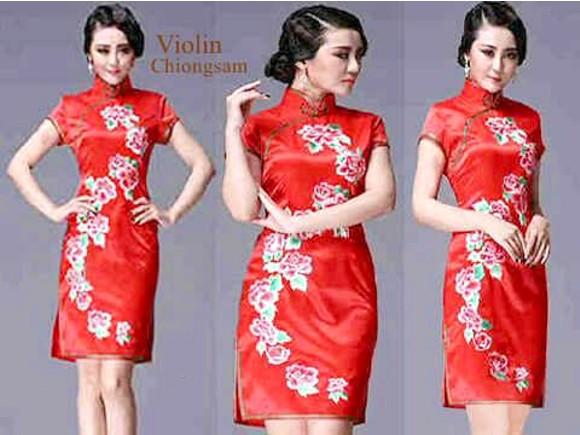 Baju Dress Pendek Violin Chiongsam Merah Cantik & Murah