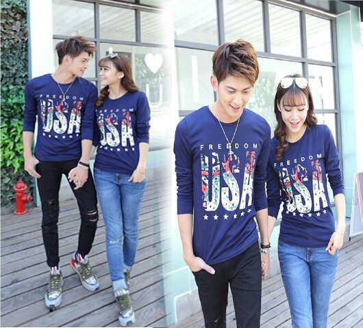 Baju Kaos Couple Panjang Murah Model Terbaru & Keren