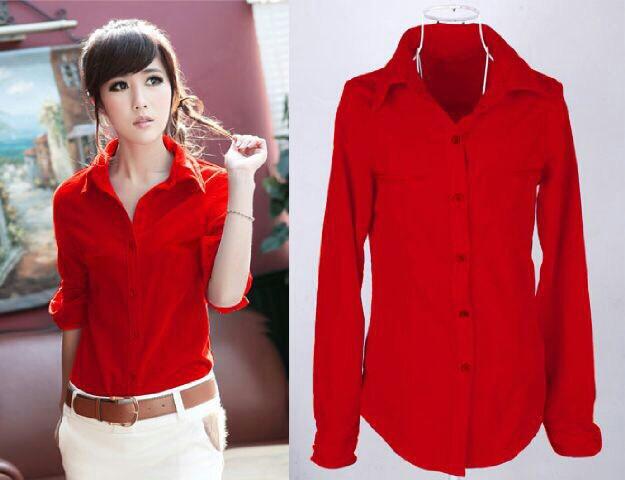 Baju Kemeja Hem Polos Merah Wanita Model Terbaru & Murah