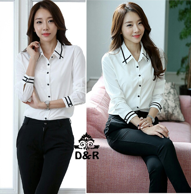 Baju Kemeja Hem Putih Wanita Murah & Cantik