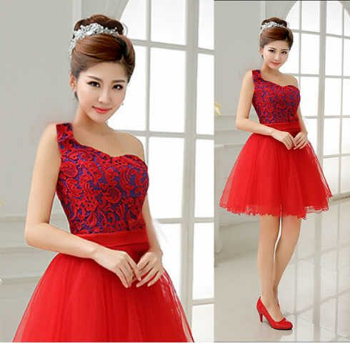 Baju Mini Dress Brukat Merah Cantik & Murah