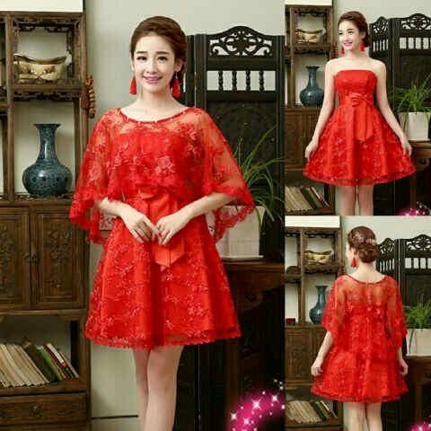 Baju Mini Dress Brukat Merah Pendek Unik Murah & Cantik