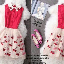 Baju Mini Dress Cherry Merah Pendek Model Terbaru & Murah