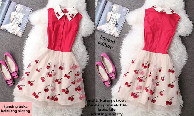 Baju Mini Dress Cherry Merah Pendek Model Terbaru & Murah