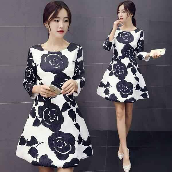 Baju Mini Dress Lengan Panjang Motif Bunga Cantik & Murah