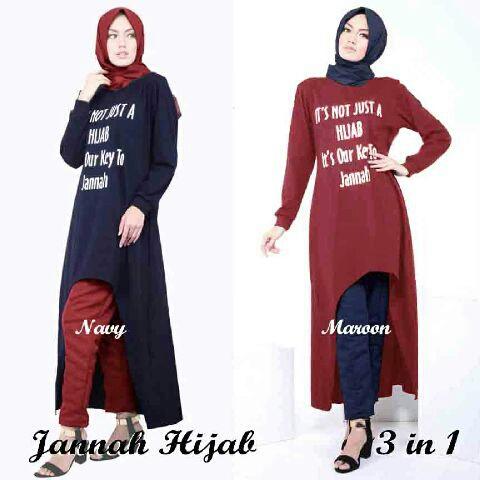 Baju Setelan hijab Muslim 3 in 1 Modis & Murah