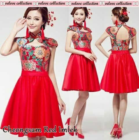 Pakaian Imlek Dress Cheongsam Merah Cantik Modis & Murah